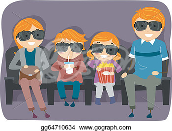 Family Watching Movie Clipart.
