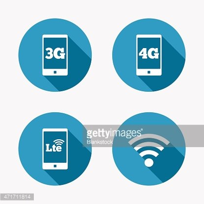 Mobile telecommunications icons. 3G, 4G and LTE Clipart.