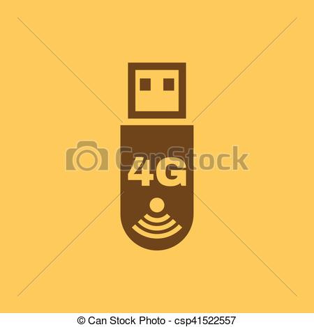 The 4g adapter icon. Transfer and connection, data, 4g symbol. UI. Web.  Logo. Sign. Flat design. App. Stock.