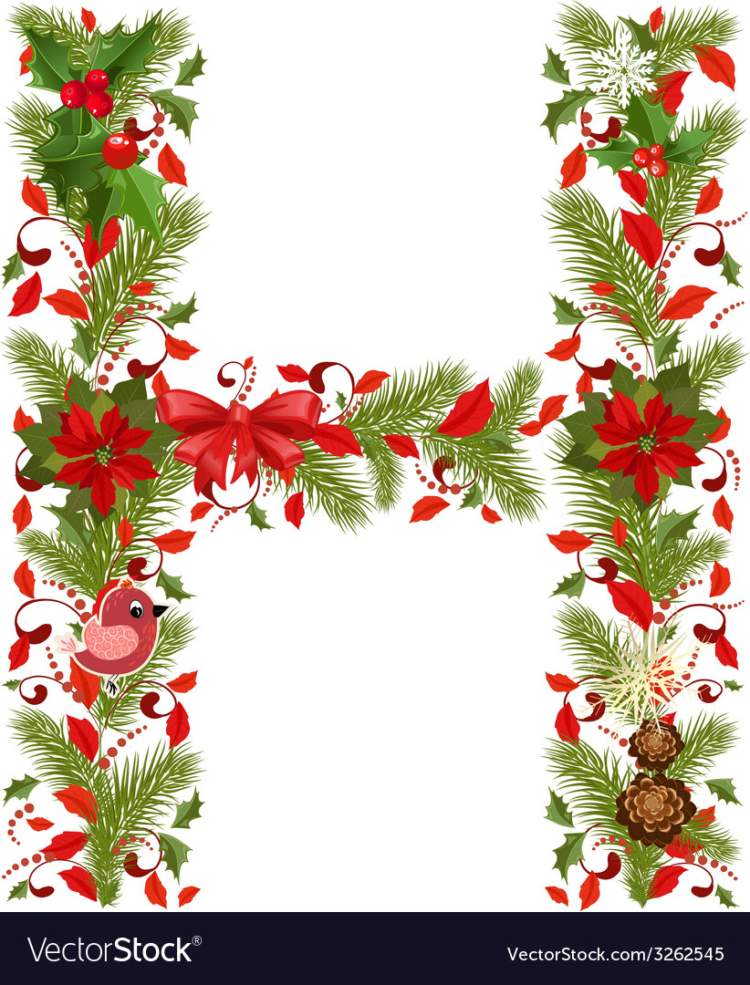 Christmas floral tree letter H.