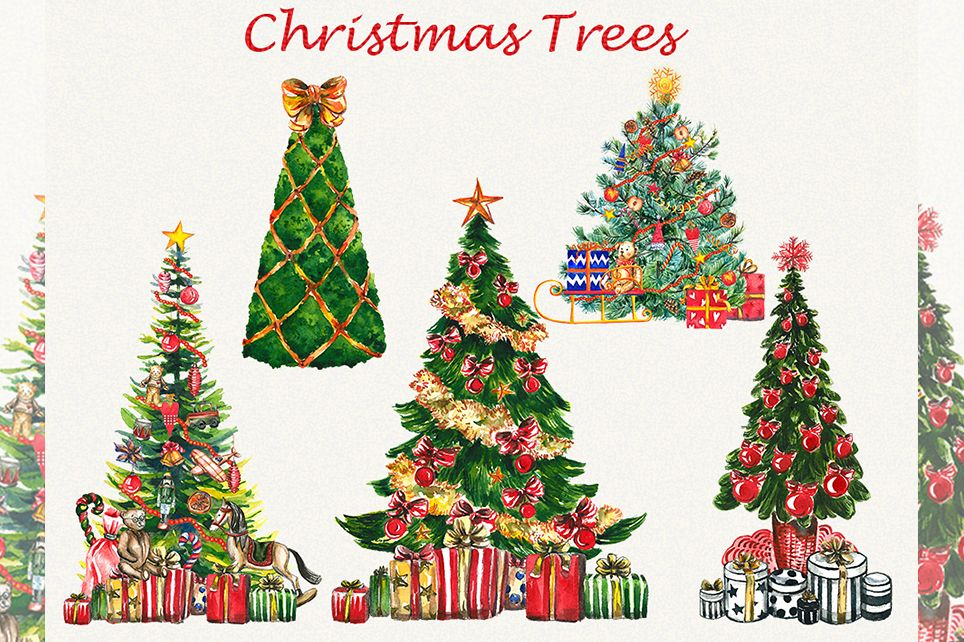 Christmas clipart, christmas tree clipart, new year clipart.