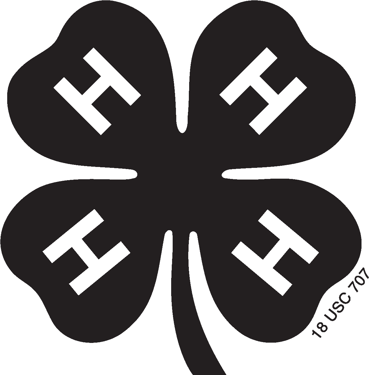 HD Black And White Library 4h Clover Clipart.