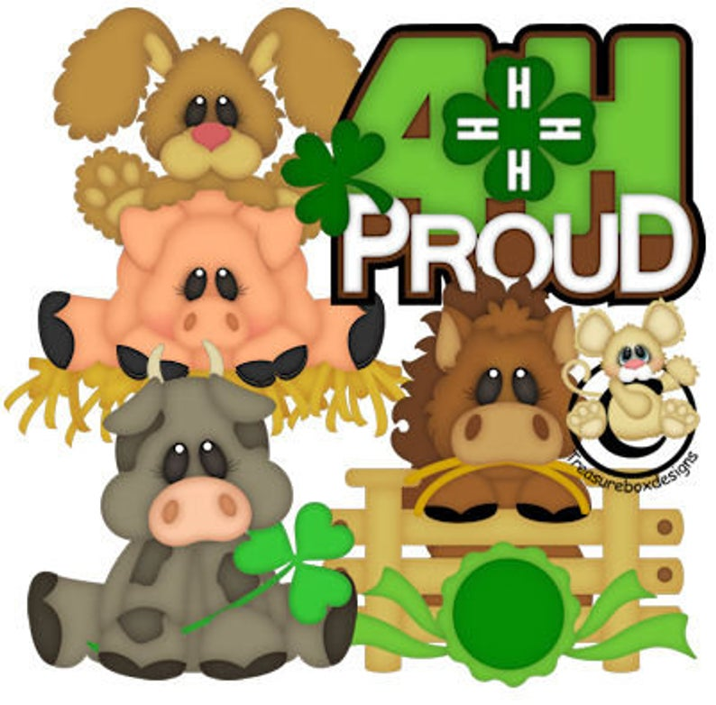 4H Pround, Farm, vector graphics, digital clipart, digital images,  scrapbooking, instant download.