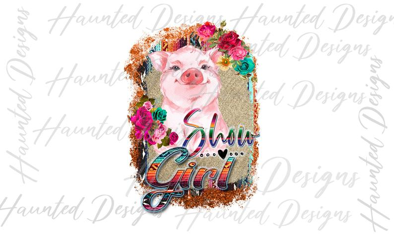 Pig Show Girl Serape 4H Rodeo sublimation design PNG, Graphic, Clip Art,  Instant Digital Download.