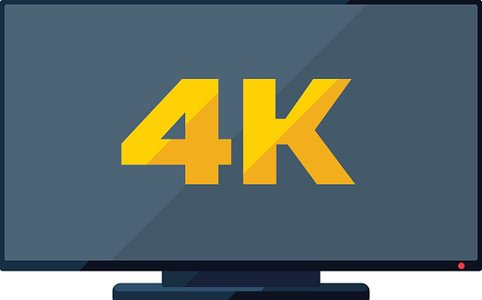 TV flat icon with golden 4k sign on the screen Clipart Image.