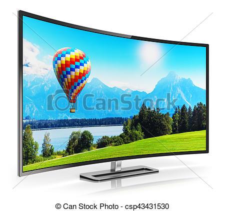 Stock Photos of Modern curved 4K UltraHD TV.
