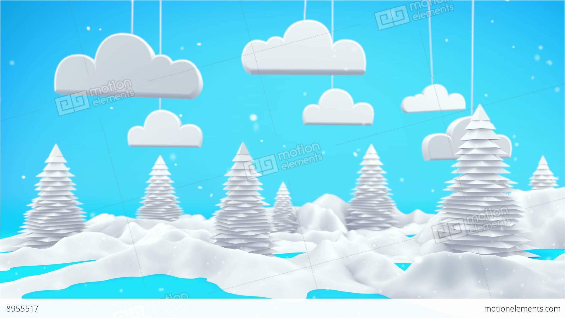 Winter Landscape 3D Scene 4K Stock Animation.