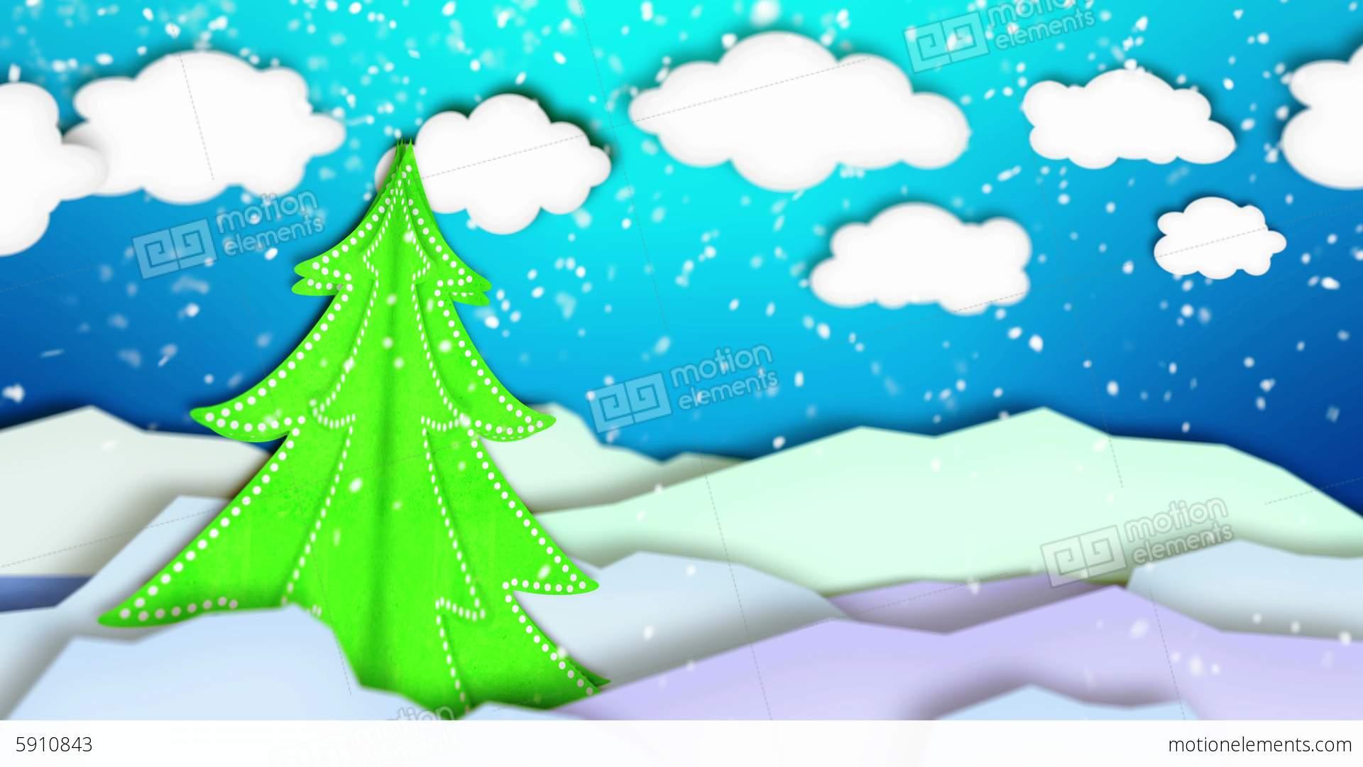 Winter Landscape Paper Scene Loop Animation.
