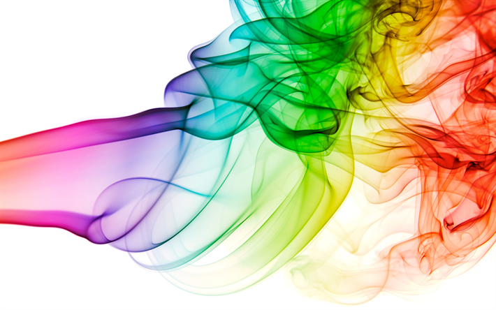 Download wallpapers colorful smoke, 4k, rainbow, art.