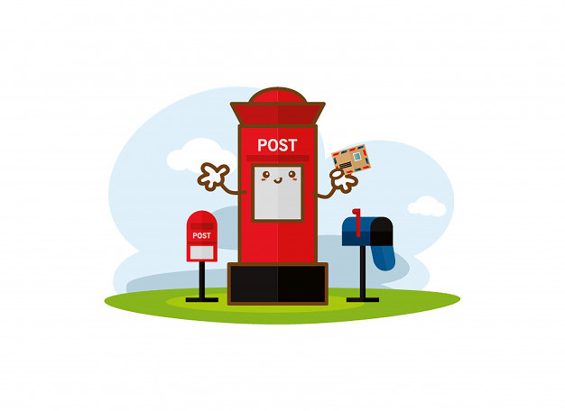 Red post box with vertical pillar letterbox Vector.