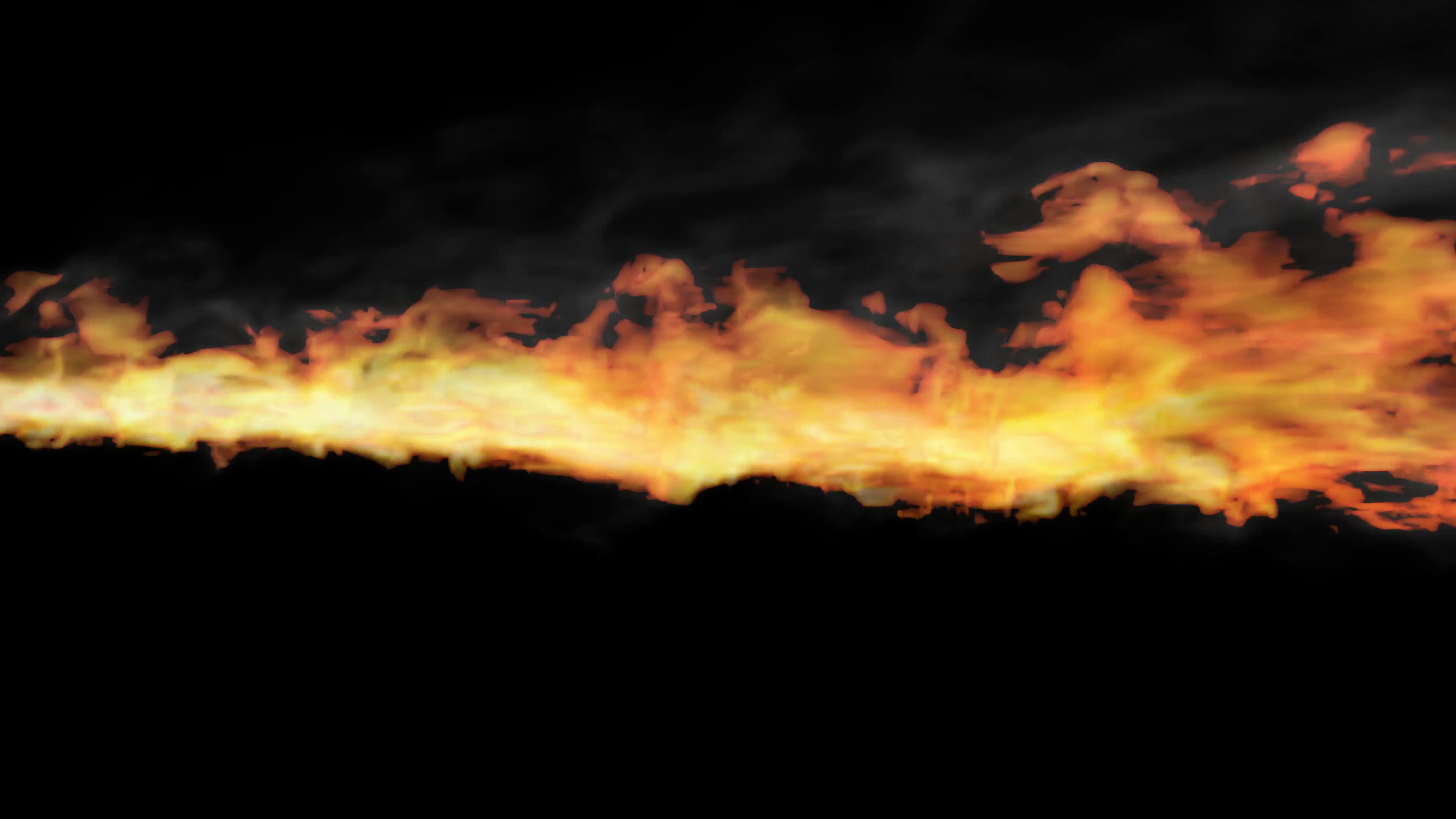 Animated realistic stream of fire like fire.