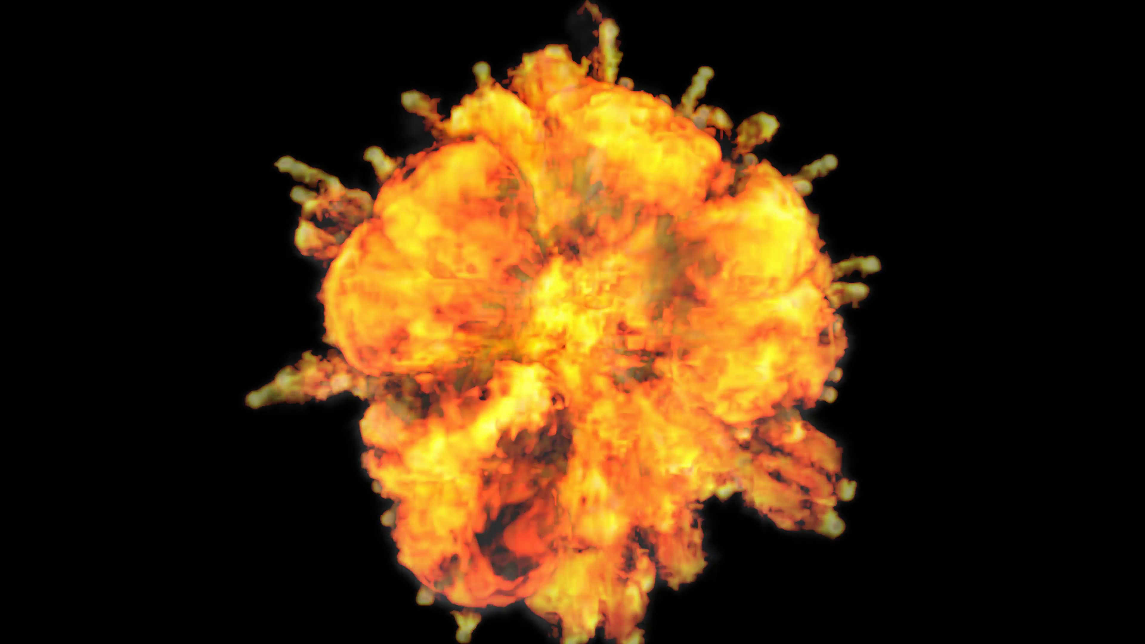 Animated erupting raging fire bursting through camera in 4k. Top view shot.  Alpha channel embedded with 4k PNG file. Motion Background.