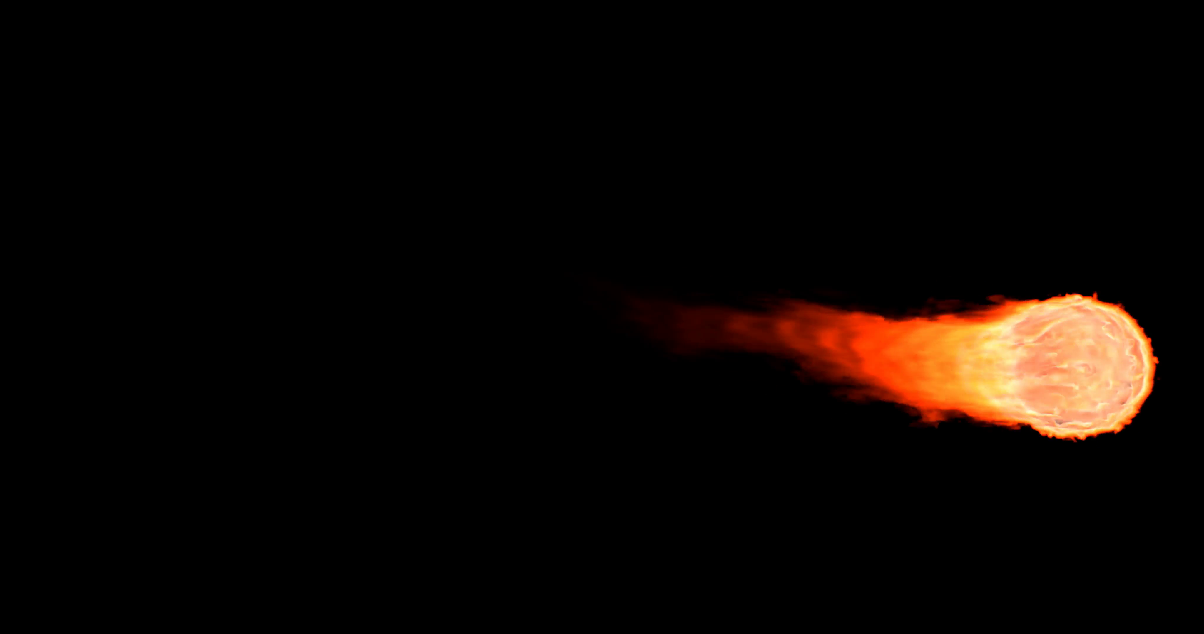 Animated realistic fireball in 4 4k with alpha channel. Smoke isn't visible  on black background (Alpha channel embedded with 4k PNG file). Motion.