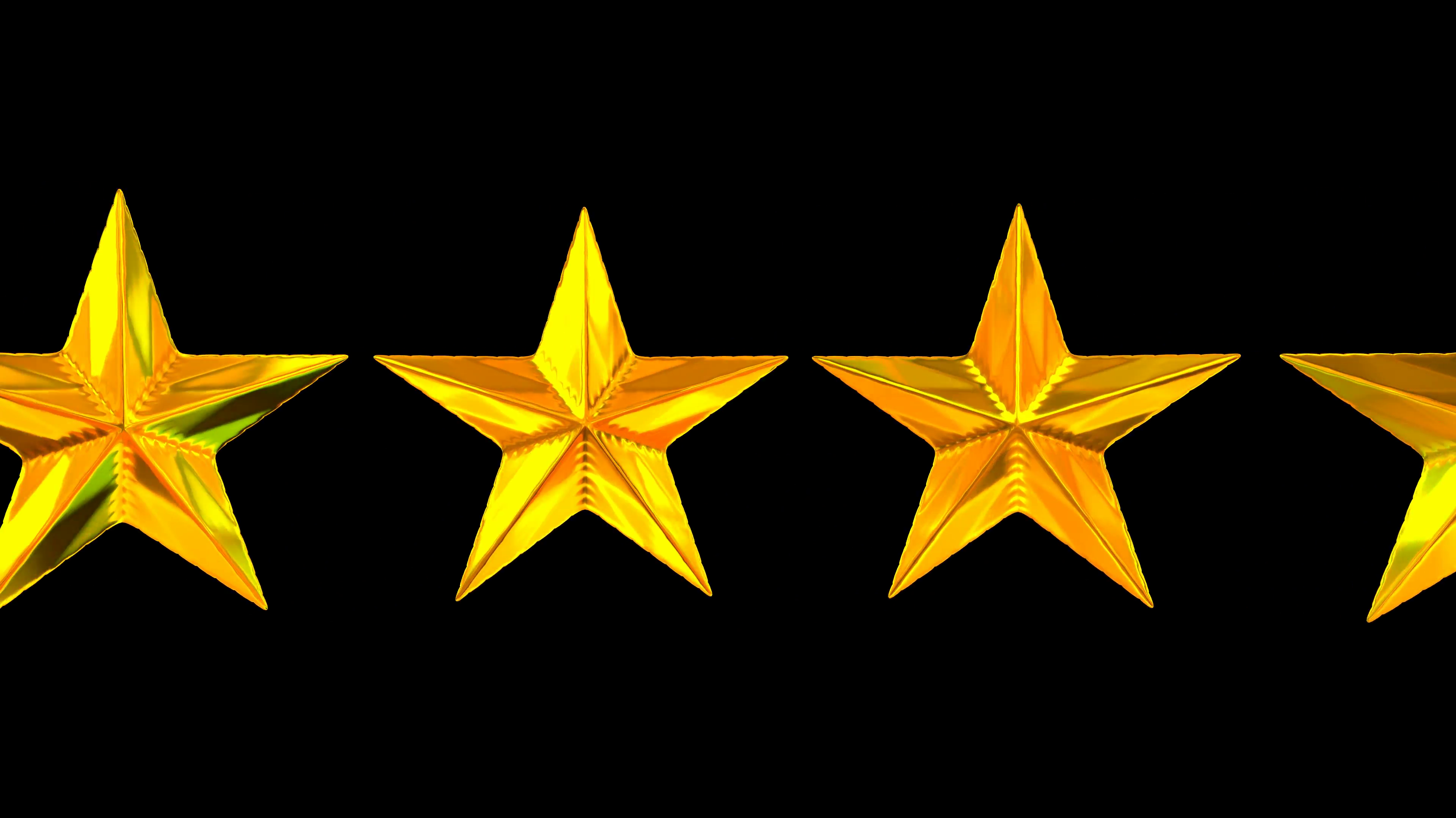 Animated rotating three golden stars against transparent background in 4k  (Alpha channel embedded with 4k PNG file) Loop, isolated and special HDRI.