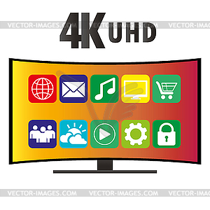 4K Ultra HD Modern Curved Screen Smart TV.