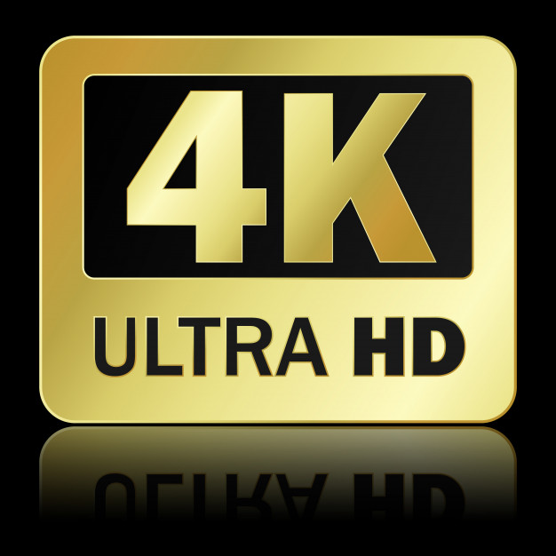 4k ultra hd sign with reflection on black background Vector.