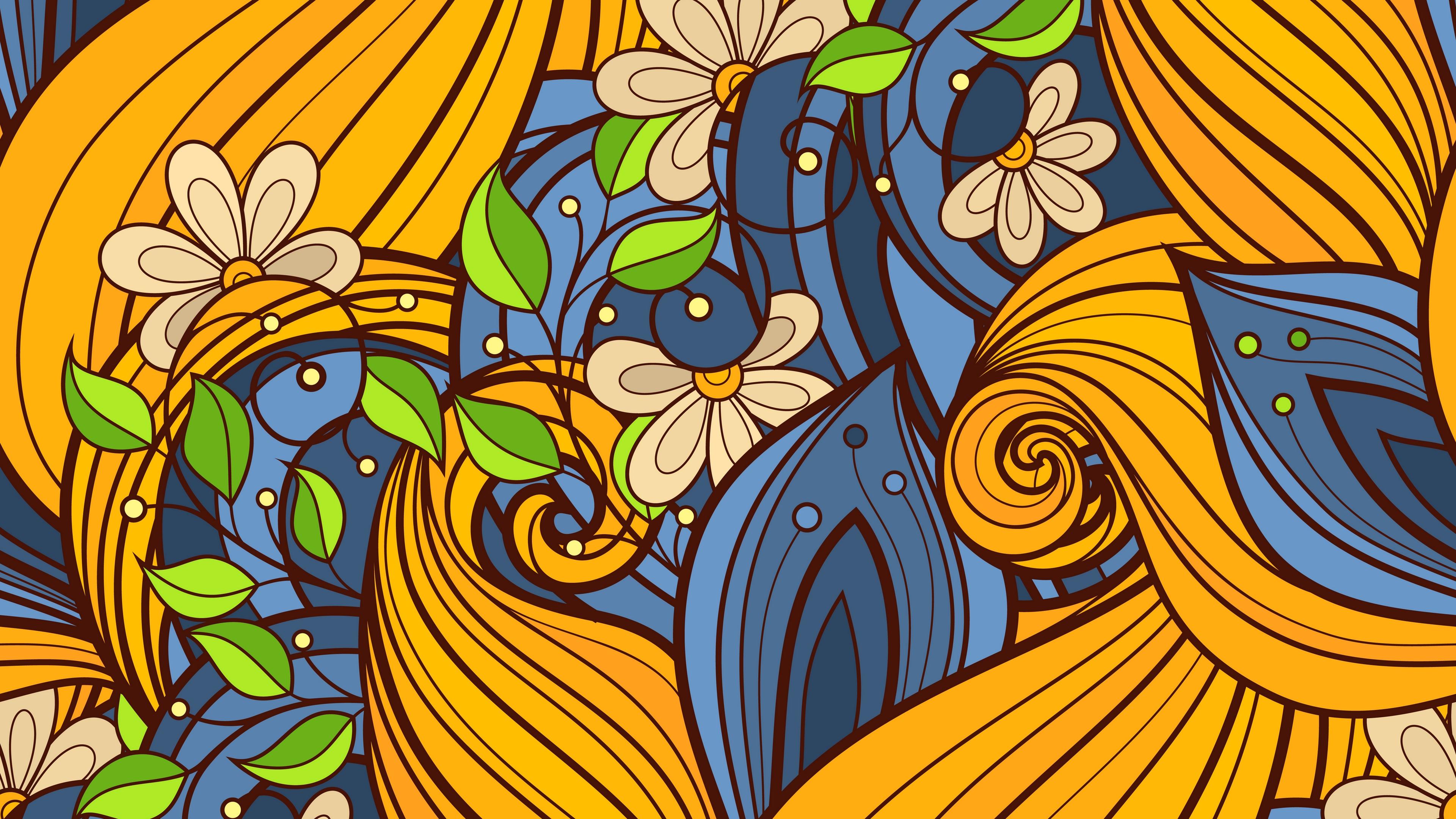 Download wallpaper 3840x2160 patterns, flowers, ornament.