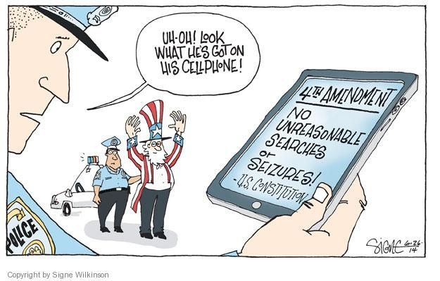 This political carton is an example of the fourth amendment. The.