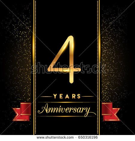 four years anniversary celebration logotype. 4th anniversary.
