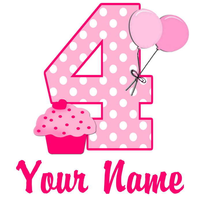 4th Birthday Png 4 Vector, Clipart, PSD.