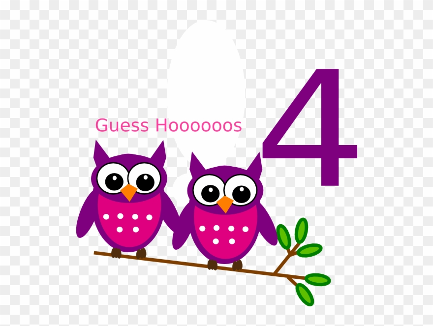 4th Birthday Owl Clip Art.