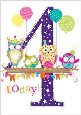 Little girl \'owl\' happy 4th birthday.