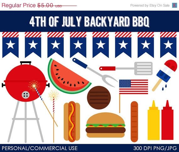 4th of July Backyard BBQ Clipart.