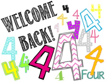 4th Grade Welcome Back Card.