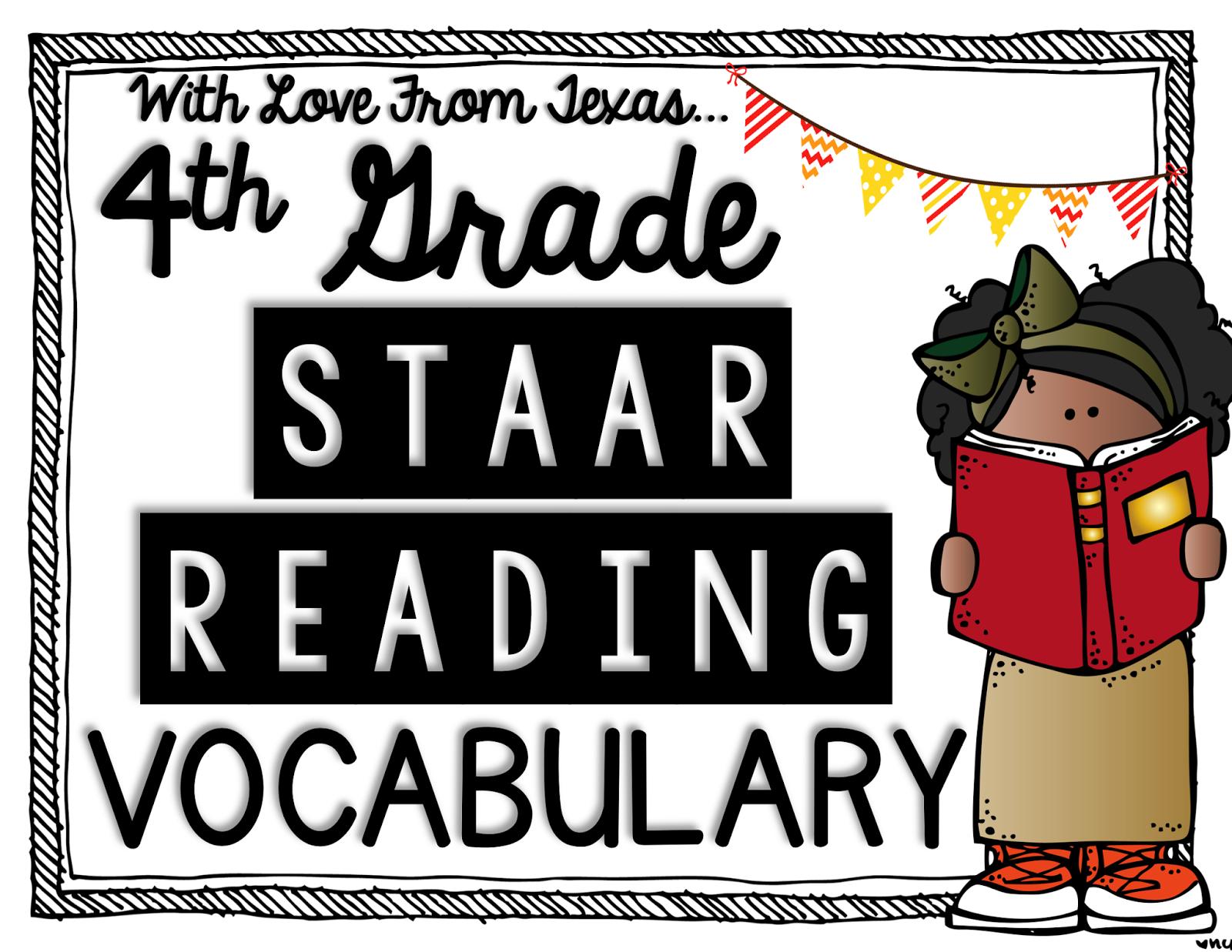Reading STAAR Vocabulary. 4th grade reading vocabulary.