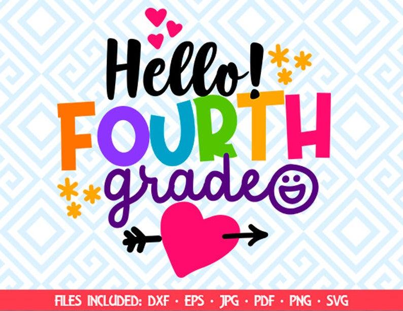 Back to school, hello Fourth grade clipart, cut file svg, socuteappliques,  svg, dxf, eps, 4th grade printable, cricut, 116luna.