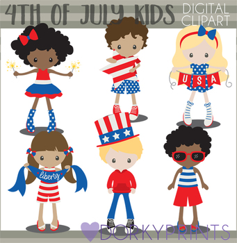 4th of July Kids Clipart.