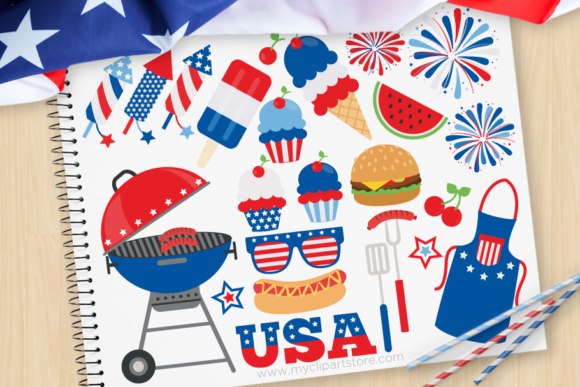 4th of July BBQ Clipart.