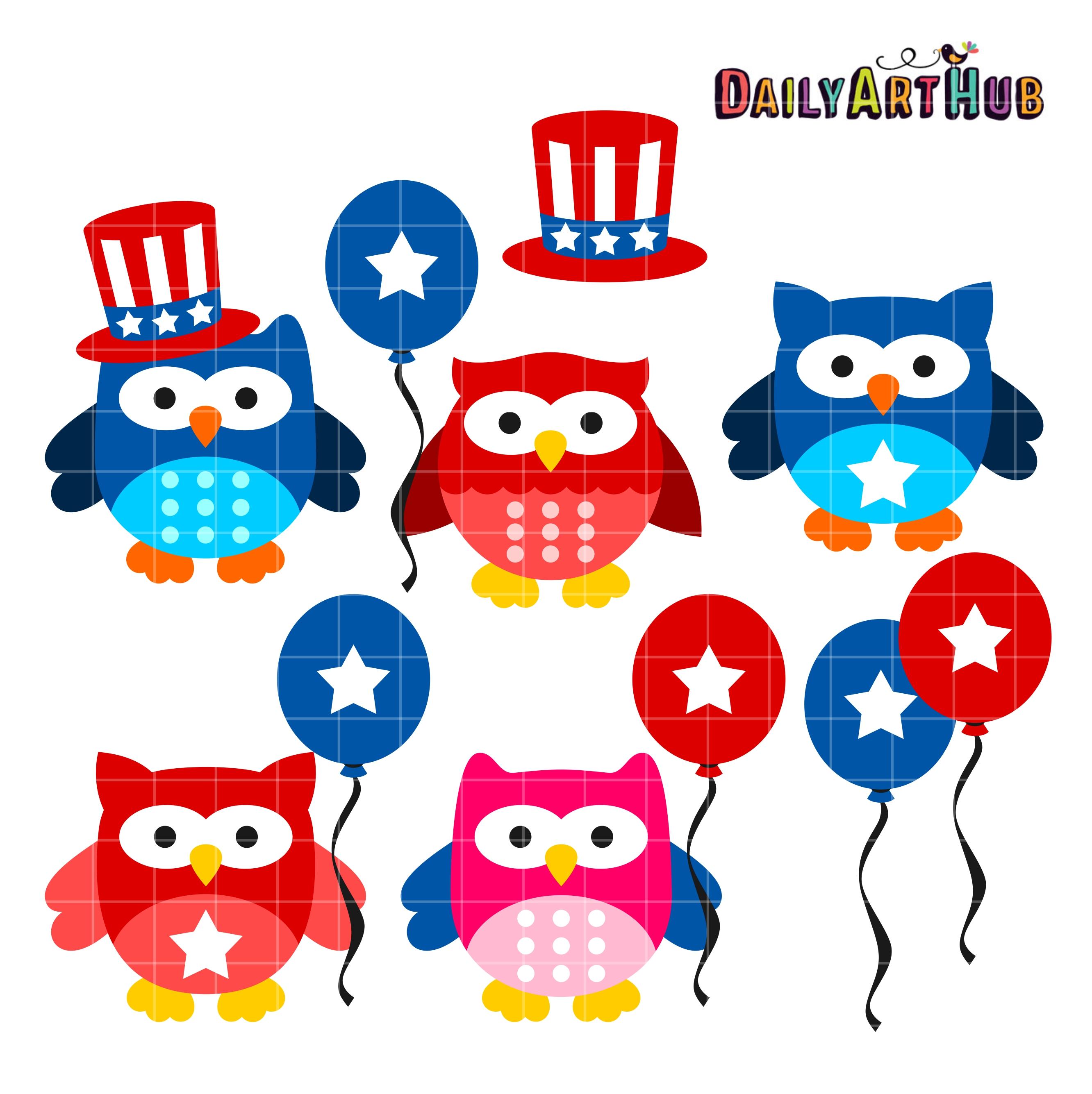 4th Of July Owls Clip Art Set.