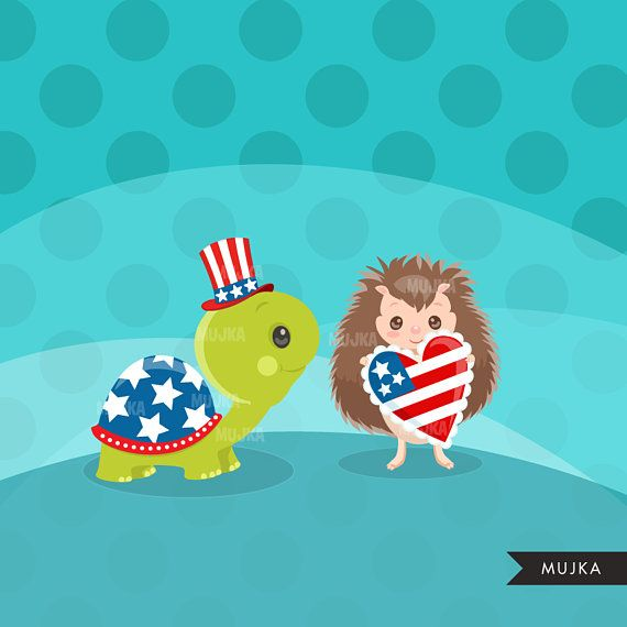 4th of July Animals Clipart. Independence Day Graphics.