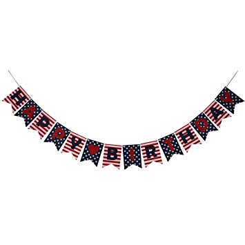 Stars and Stripes Happy Birthday Banner, National Flag Style Banner for 4th  of July Decorations Patriotic.