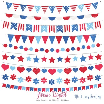 Patriotic Bunting Banner Clipart Scrapbook Vector Clip art 4th of July.