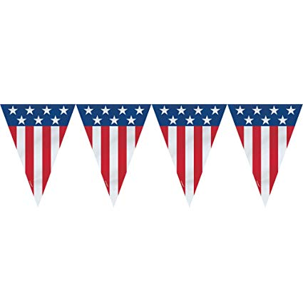 9ft Plastic 4th of July American Flag Pennant Banner.