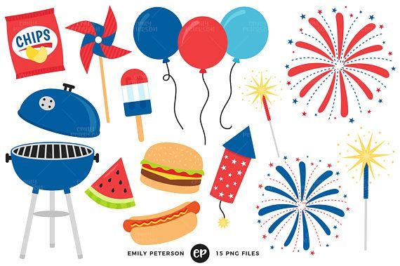 4th of July Clip Art, BBQ Clipart, Barbecue Clip Art.