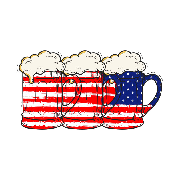 4th Of July Beer Tankards American Independence Celebration Funny Patriotic  Gift Shirt.