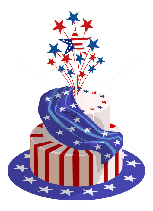 Birthday cake clip art 4th july.
