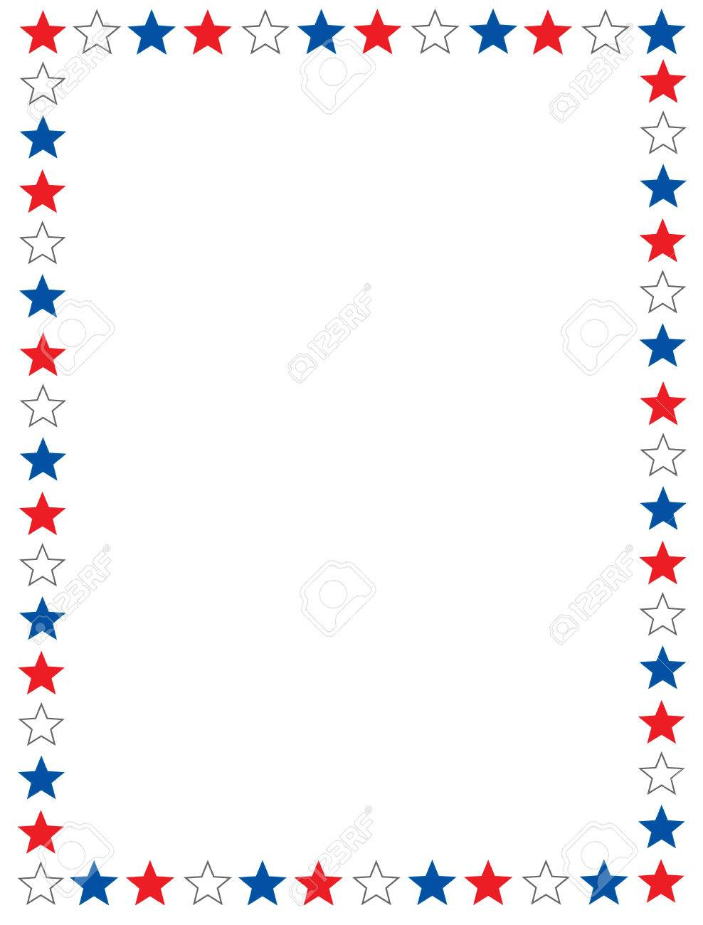 Red blue and white stars 4th of july border / frame.
