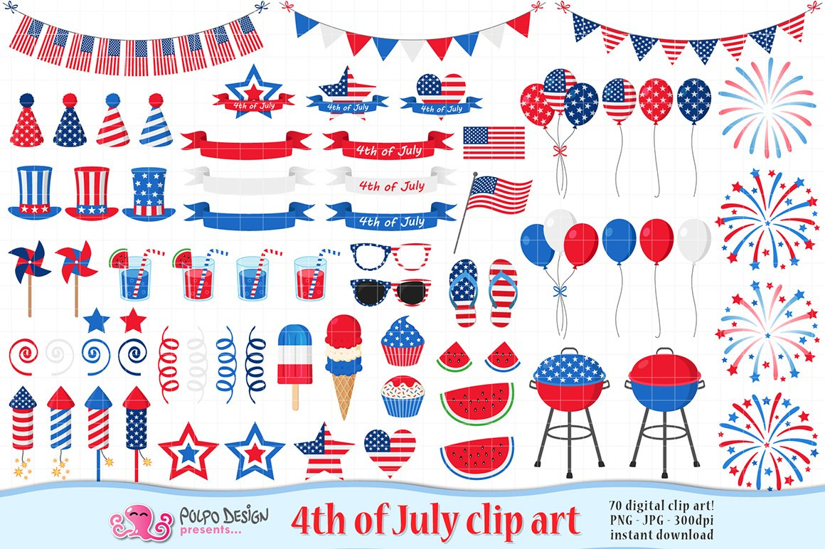 4th of July clipart ~ Graphic Objects ~ Creative Market.
