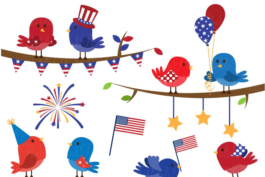 4th of July Birds Clipart & Vectors ~ Illustrations.