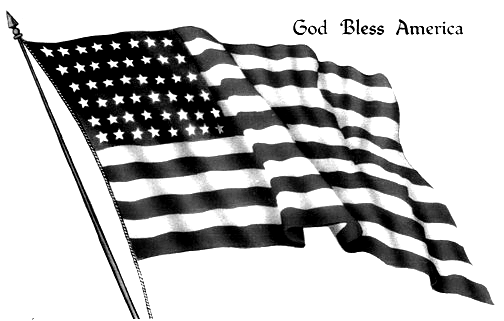 4th of July Black and White Free Clip Art.