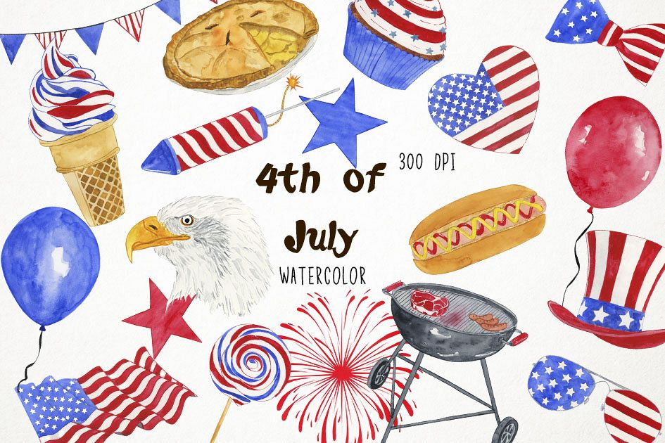 Watercolor 4th of July, 4th of July Clip Art, America.