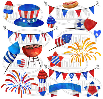 Watercolor 4th of July Clipart.