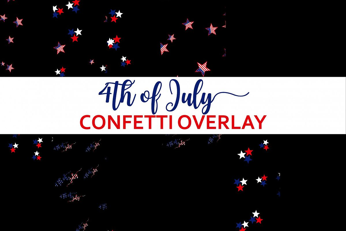 4th of July Confetti Overlay Clipart.