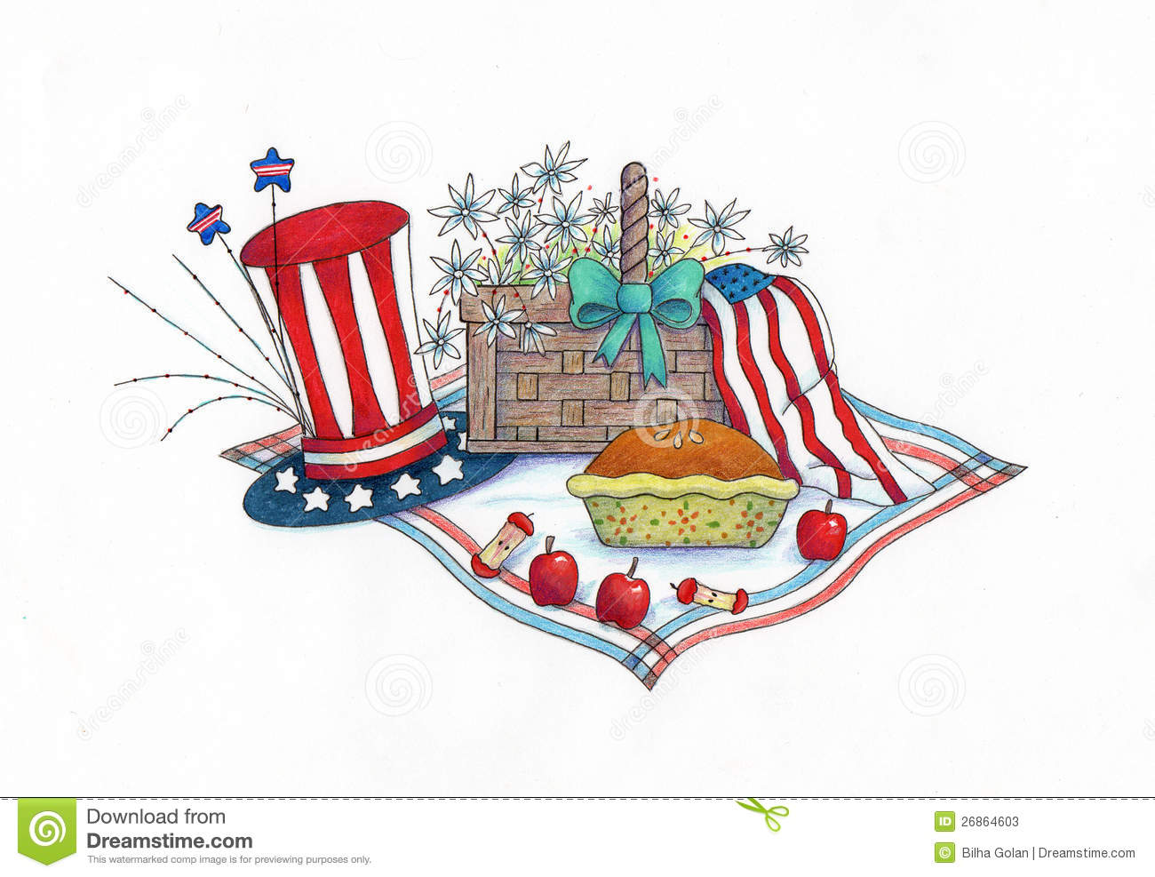 4th of July Picnic stock illustration. Illustration of illustration.