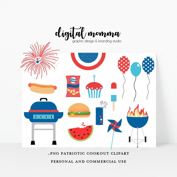 Patriotic Cookout Clipart Set, July 4th Cookout, Barbque Clipart, .PNG,  Instant Download!.