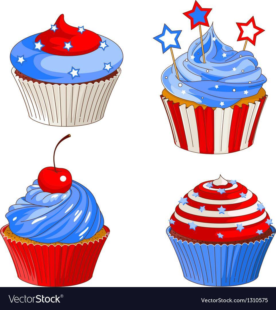 Patriotic cupcakes Royalty Free Vector Image.